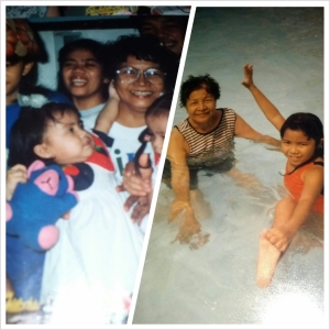 My childhood was the best -- I had so much fun with my family and friends. Here I am with Nanay!